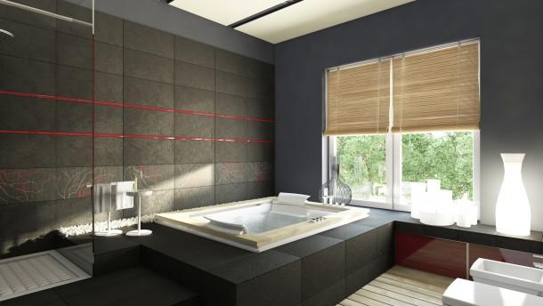 Egzotikus fekete fürdőszoba
