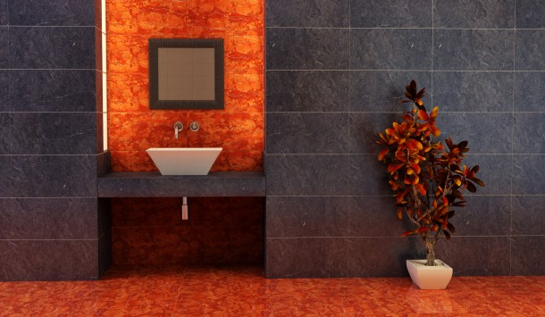 Egzotikus élénk fürdőszoba