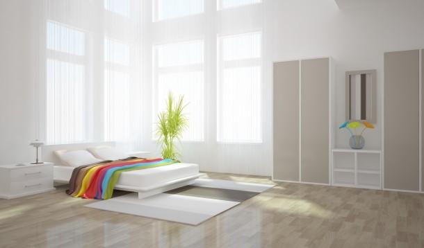 Minimál fehér hálószoba