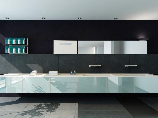 Minimál fekete fürdőszoba
