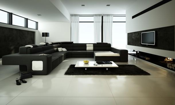 Minimál fekete nappali