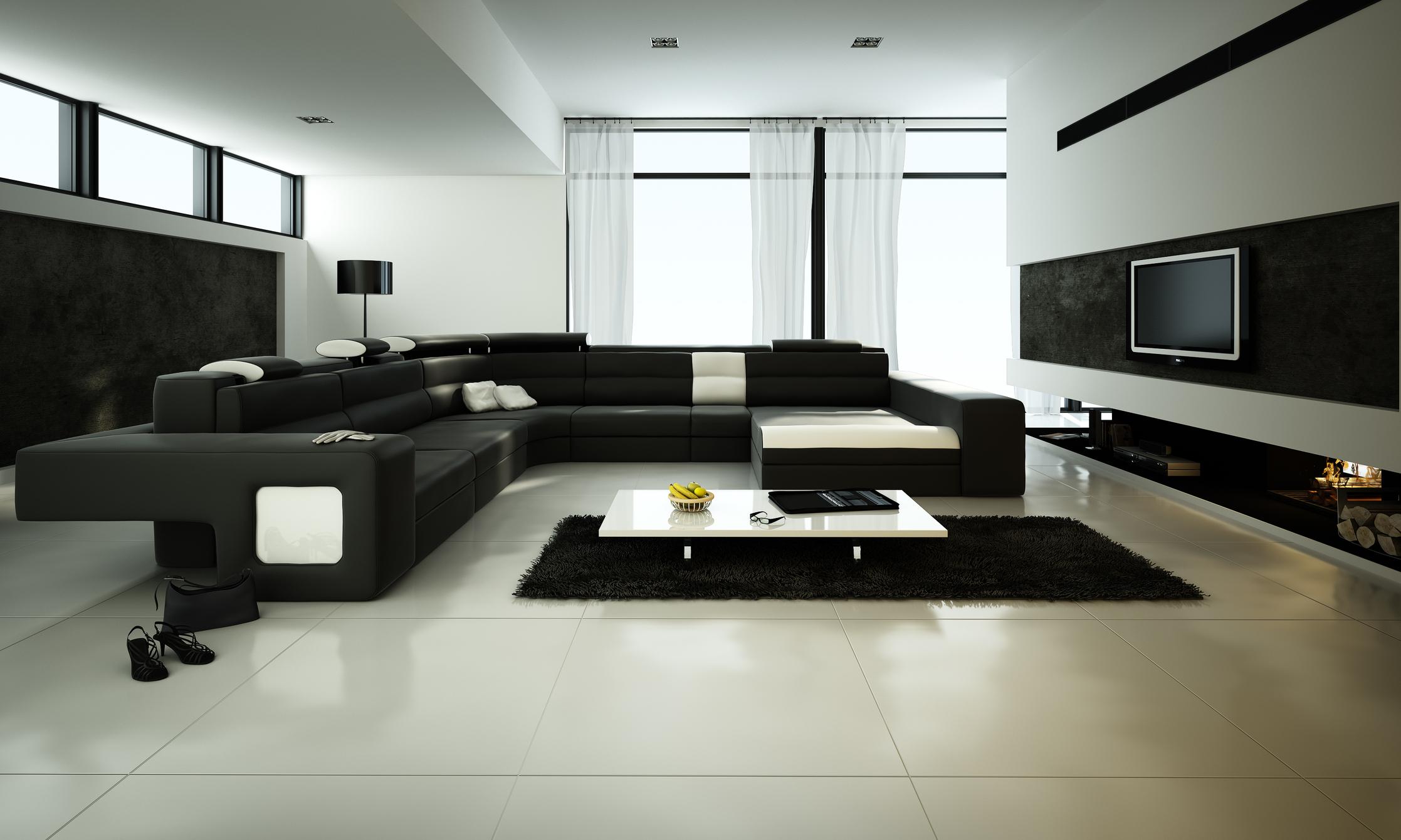 Fundamenta – Otthonok és megoldások Minimál fekete nappali - Fundamenta - Otthonok és megoldások