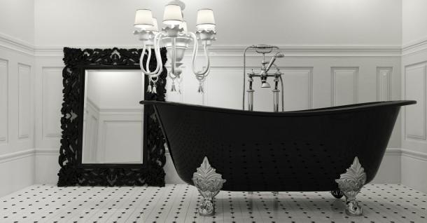 Nőies fekete fürdőszoba