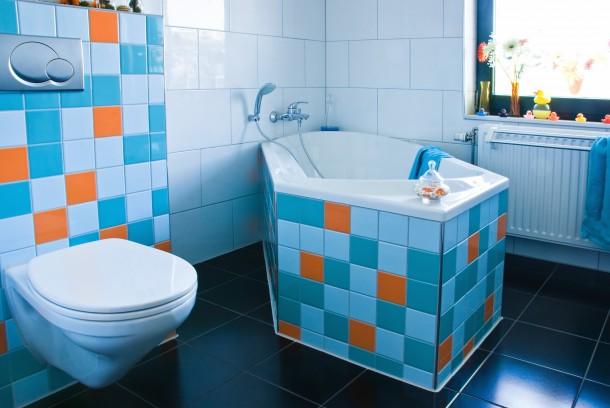 Retro élénk fürdőszoba