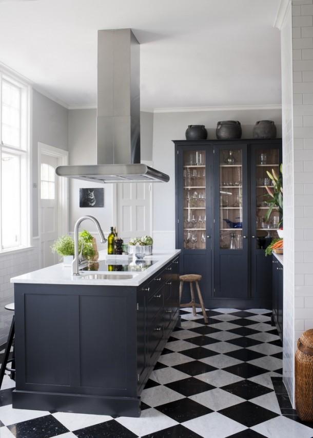 denim blue kitchen