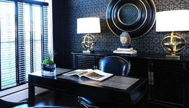 Egzotikus fekete dolgozószoba