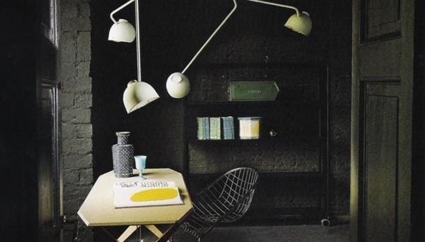 Rusztikus fekete dolgozószoba