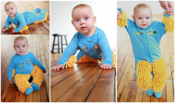 Amíg a gyerkőc kúszik-mászik, a tudta nélkül a padlót is feltakarítja.