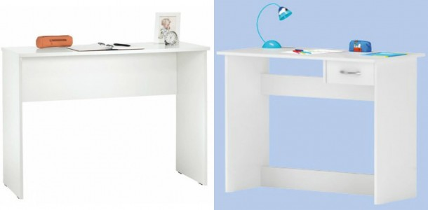 Balra: Kika, Arian íróasztal: 7.990 forint; Jobbra: Praktiker, Alprin 1 fiókos íróasztal, 8.999 forint