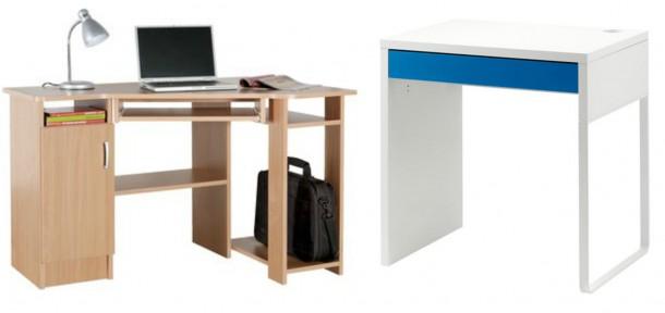 Balra: Jysk, sarokíróasztal: 18.500 forint; Jobbra: Ikea, Micke íróasztal: 12.990 forint