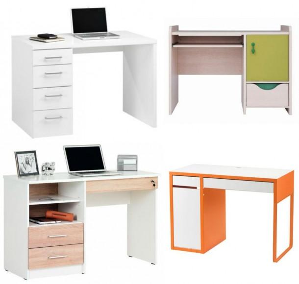 Felső sor, balra: Jysk, Marslev 4 fiókos: 27.500 forint, jobbra: Black Red White, HIHOT íróasztal, 23.990 forint; Alsó sor, balra: Kika, Locky: 29.900 forint, jobbra: Ikea, Micke íroasztal: 22.990 forint