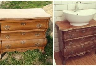 Bútorfestés házilag - Így lesz régi komódból fürdőszoba szekrény!