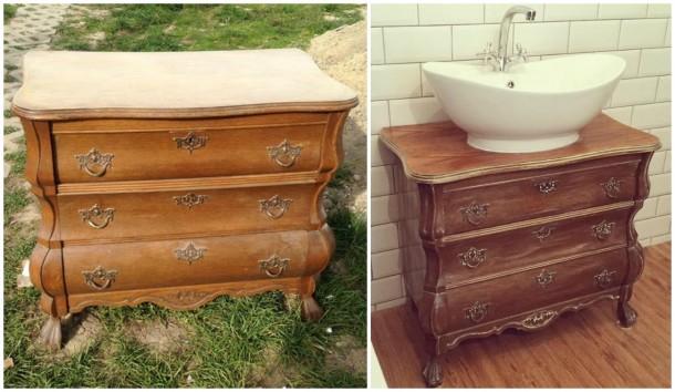 Bútorfestés házilag – Így lesz régi komódból fürdőszoba szekrény!