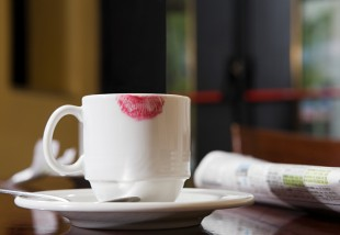 Cup with lipstick mark