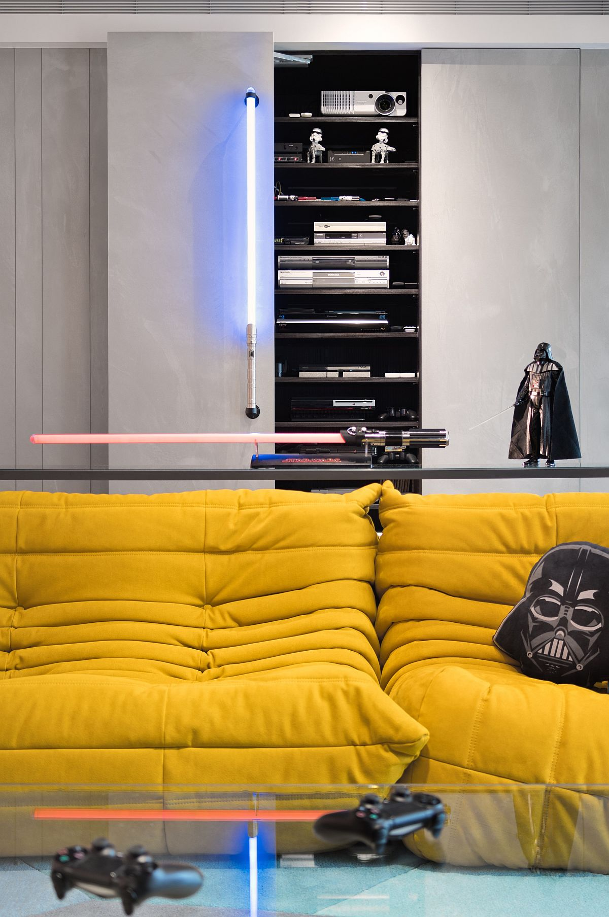 Darth-Vader-and-light-saber-style-lighting-rules-the-living-room-of-the-Star-Wars-home