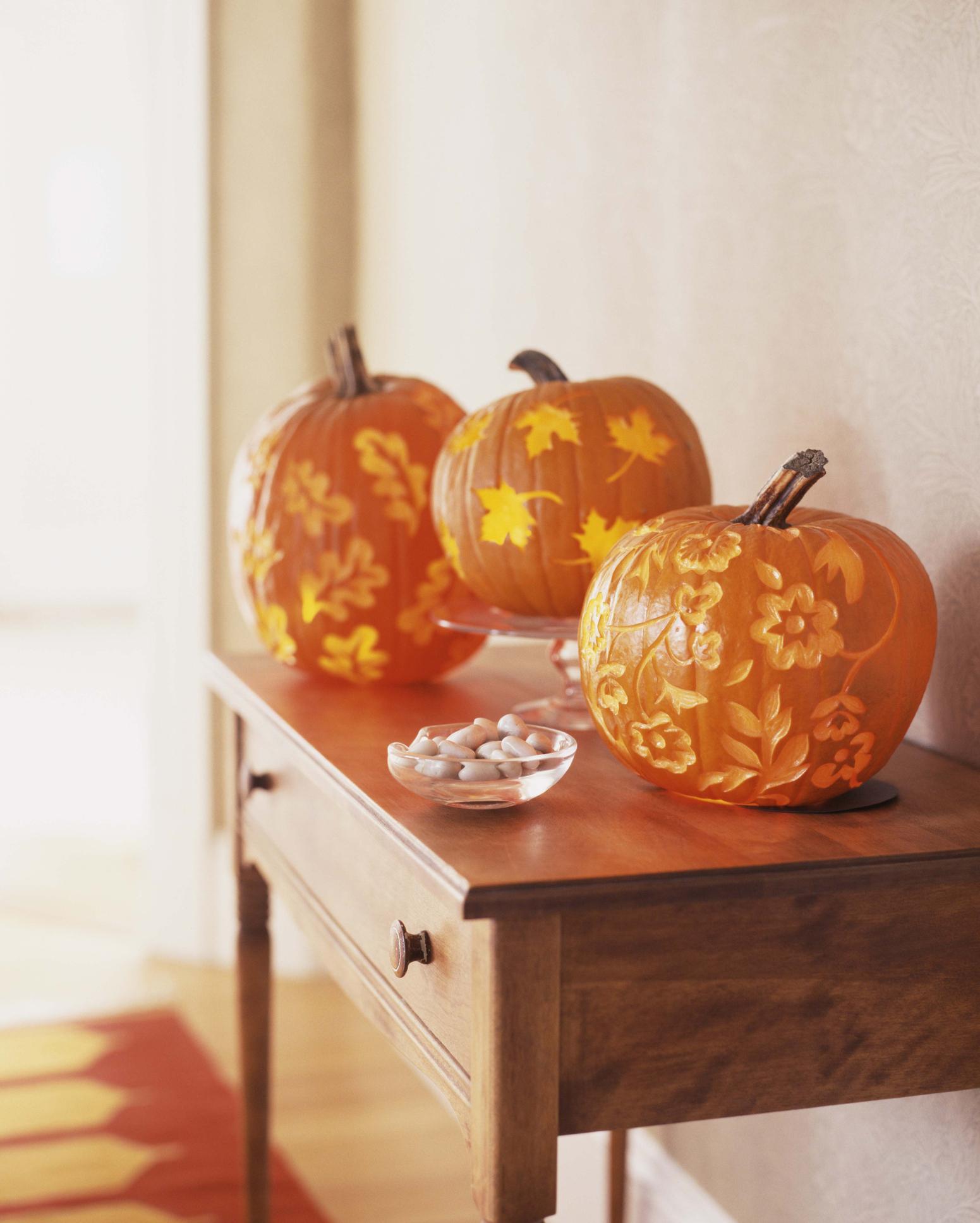 Fancy carved pumpkins