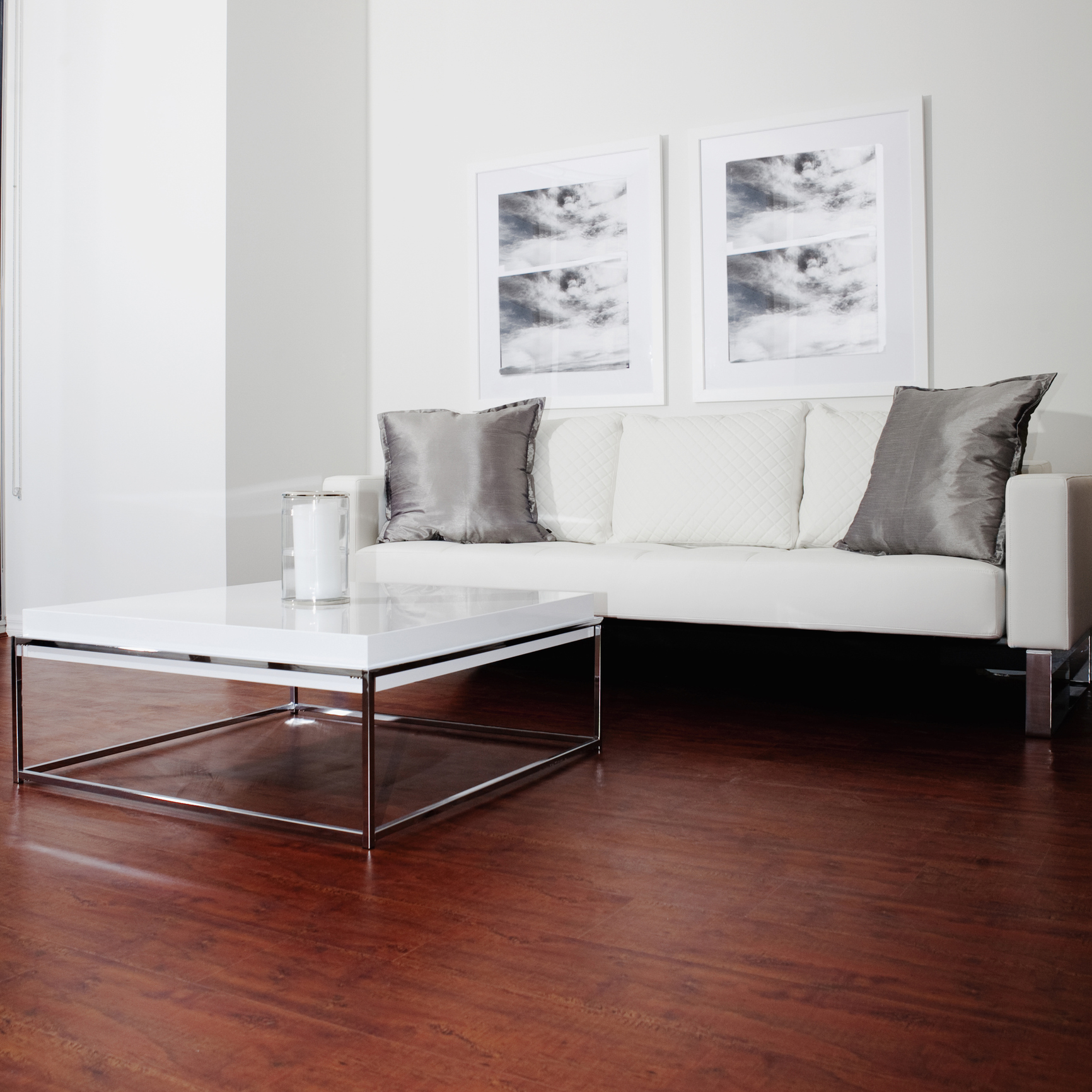 Sofa, wall art and coffee table in modern living room
