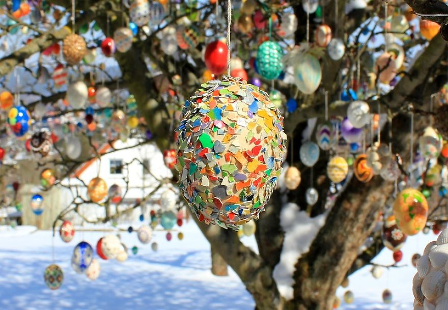 A tojásfák tojásfája! Rekord mennyiségű húsvéti tojás egy almafán